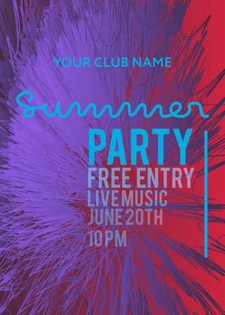 banner web o poster di stampa per la festa estiva in spiaggia. ottimo concetto per la promozione e la pubblicità di club e feste. illustrazione vettoriale, sfondo vettoriale