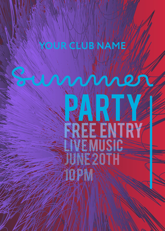 web banner or print poster for summer beach party. great concept for club and party promotion and advertisement. vector illustration, vector background Иллюстрация