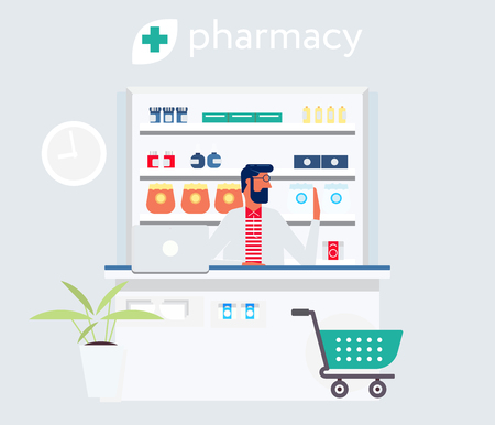 Pharmacist behind the cash desk. Modern flat design simple style illustration. Cashier and the wall with the pills. Drug store concept. Poster design. Advertisement banner.