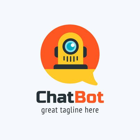 La ilustración de diseño de vector de chat bot. Estilo plano moderno. Icono de bot de chat. Diseño de logo. Elemento UI UX para diseño web.