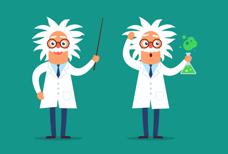 Two professor characters standing in the classroom with the pointer and test tube. Flat design funny illustration. Back to school idea.