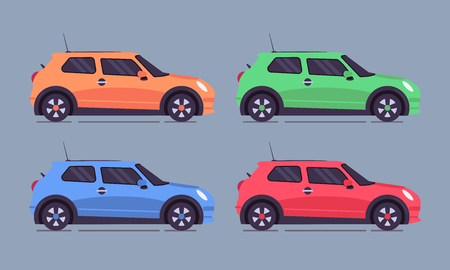 Different colored cars in set. Car rental business concept illustration with the attractive cars in the center. Vector flat design. Vettoriali