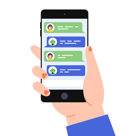 Hand with the smart phone and chat bot on the screen. The chat bot vector design illustration. Modern flat style. Chat bot icon . UI UX element for web design.