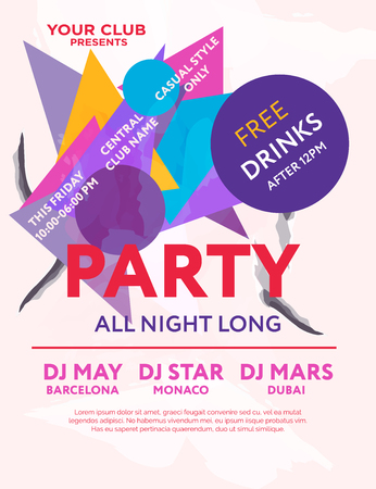 Web banner or print poster for party all night long. Great concept for club and party promotions and advertisement. Vector illustration, vector background