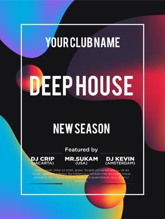 Party poster for night club. Template of invitation for summer party. Modern marble flyer design. Trance, Deep house, electronic, silent party. vector template. Abstract background.