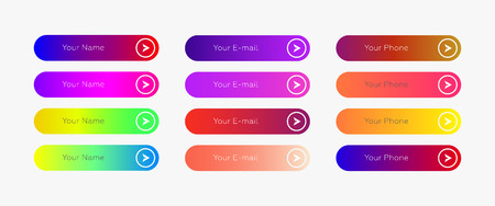 Web buttons flat design template with color gradient and thin line outline style. Vector isolated rectangular rounded web page next arrow button elements set on white background. Фото со стока - 127515104