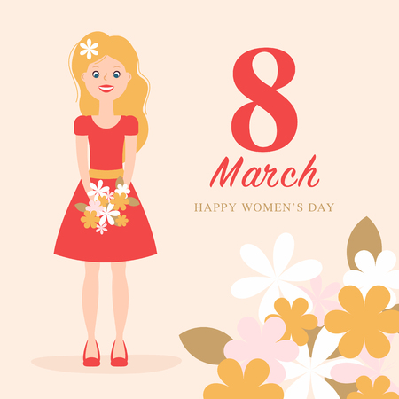 Greeting card for international worldwide womans day with the big red 8 in the center. Girl character. Applique to Women's Day March 8. Flat design