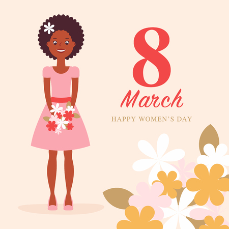 Greeting card for international worldwide womans day with the big red 8 in the center. Girl character. Applique to Women's Day March 8. Flat design Фото со стока - 127515106