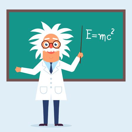 The professor character standing in the classroom near blackboard. Flat design funny illustration. Back to school idea. Phisics genius character. Illustration