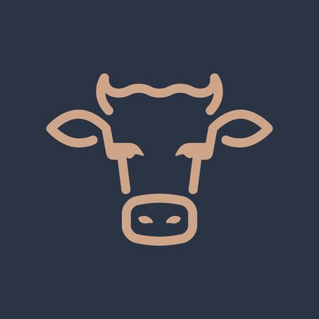 Cow Head line art illustration. Simple design. Flat design. Logo, logotype, icon.