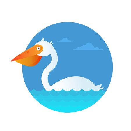 The great modern design with the grounge texture vector illustration of pelican swimming in the water. Good logo and kids illustration concept. Ilustração