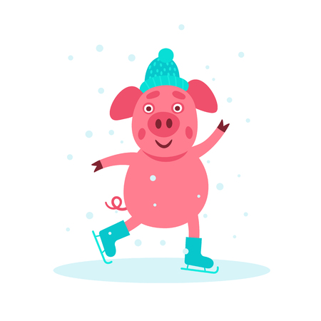 Cute little pig dancing on the ice in the skates. Children illustration. Pisg symbol of 2019 new year. Pink pig in winter in the hat. Banque d'images - 126344690