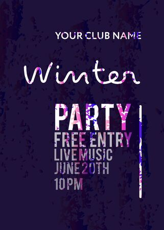 Night Party banner template for art event promotion. Groung gradient effect. Winter Party. Glowing fiber effect background. Ladies night, karaoke party, deep trance music.