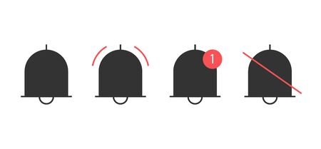 Notification bells icons set. Minimalistic design. Incoming messages concept. Do not disturbe icon. Alarm icon.