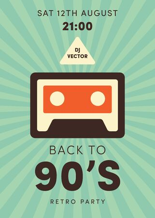 Old cassette web icon. Party poster for disco 80-ties. Vintage poster. Flat design vector illustration. Иллюстрация