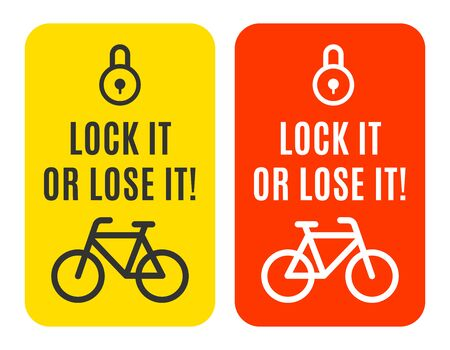 the set of stickers with the bicycle and the lock sign. The robbers awereness. Vector illustration. Иллюстрация