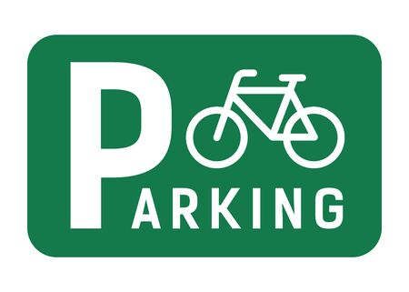 Navigation signs with the bicycles and parking place. Vector design illustration.