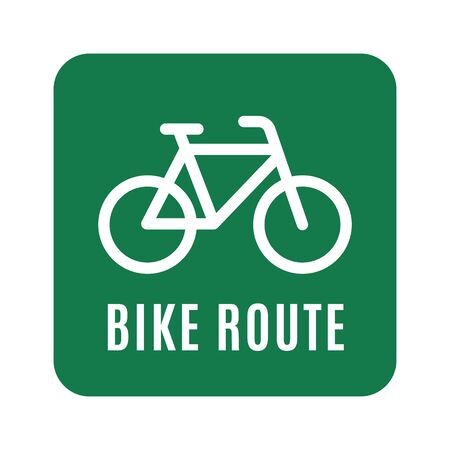 Bicycle sticker with the route name. Vector illustration.