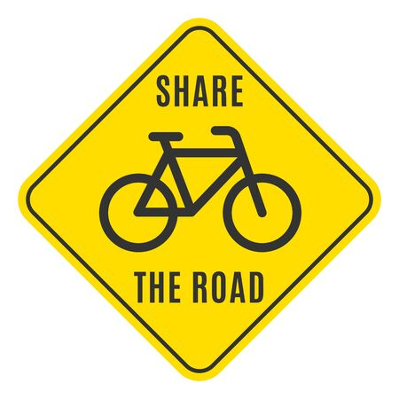 Bicycle sticker with the share the road words. Route name. Vector illustration. Иллюстрация