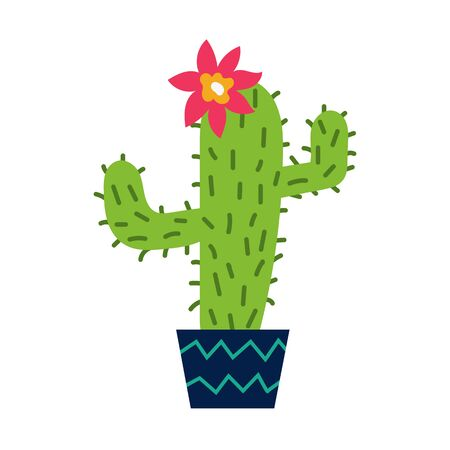 Cute illustration of catus in the tub. Cactus is blooming. Cool hand drawn design vector illustration. Иллюстрация