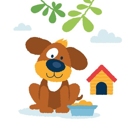 Cute dog with the meal and seating near the booth. Cool vector illustration. Great for kids books illustration.