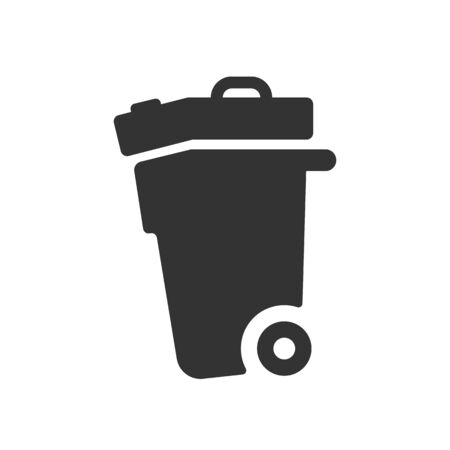 trash icon. Glyph flat design vector illustration.