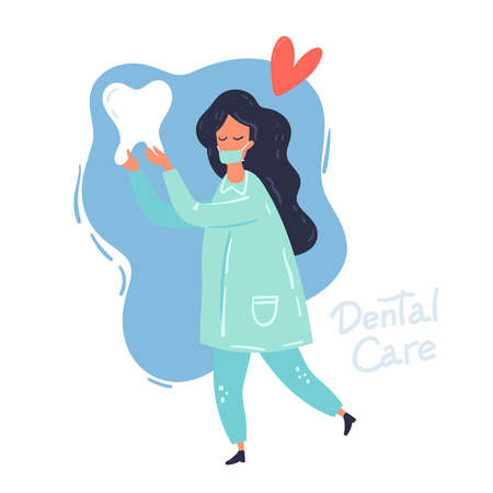 Health Dent design vector template flat style on background. The doctor with the tooth. Dental clinic poster, card, information background concept. Health tooth in a form of heart.