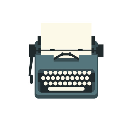 The old styled vintage typewriter. Flat design vector illustration. It is possible to add any text on to the paper. Illustration for international authors day. Illustration