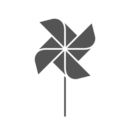 The pinwheel logo flat design vector illustrations. Two variants in black and in colors isolated on a white background. Reklamní fotografie - 119004048