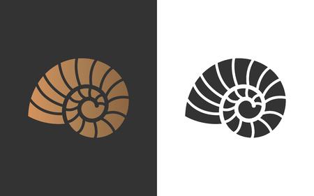 Ilustracja wektorowa z muszli łodzika. Obiekt na Twoje logo / kartę / ulotkę. Logo