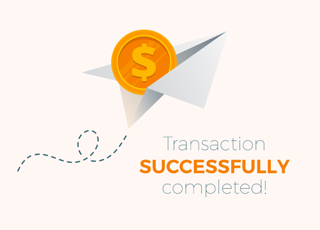 Сolored paper plane flying in the air. Good concept for web design illustration. Vector design. Advertisement art. Transaction is successful.
