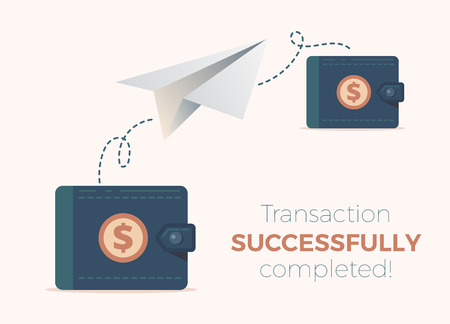 Ð¡olored paper plane flying in the air. Good concept for web design illustration. Vector design. Advertisement art. Transaction is successful. Banque d'images - 124371347