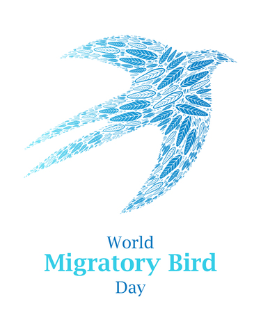 Seagull shape or silhouette full by the feathers poster, greeting card or print illustration. Cool hipster styled concept. Migratory international bird day.