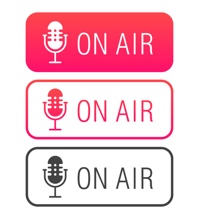 Podcast radio icon illustration set. Studio table microphone with broadcast text on air. Webcast audio record concept. On air labels. Illustration