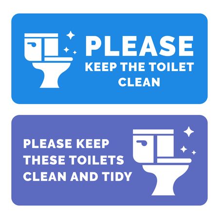 Please keep the toilets clena flat design informational plate. Vector illustration. Ilustrace