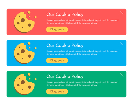 The cookie pop ups set for web design. Flat vector design illustration. Useful for web design pop ups and other elements.