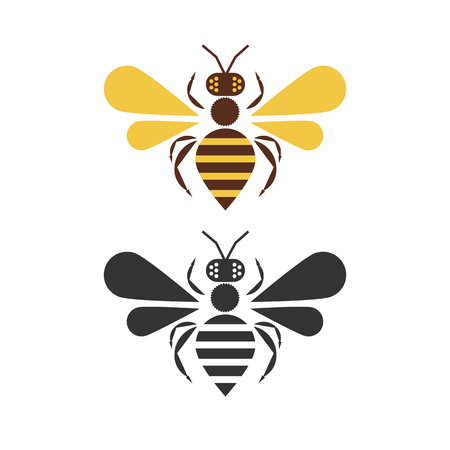 Logo Design for The Raw Honey Shop with the big pretty bee. flat design. vector illustration. Logo concept Banque d'images - 125576434