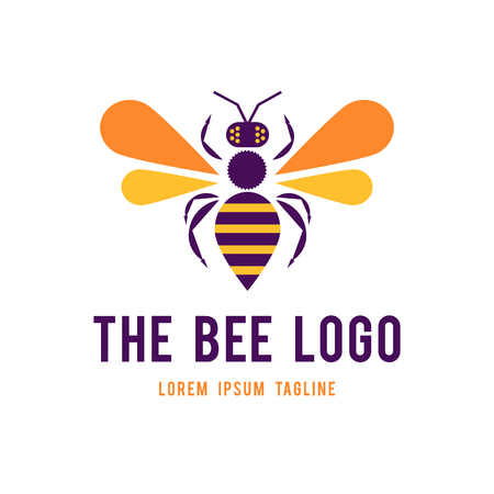 Logo Design for The Raw Honey Shop with the big pretty bee. flat design. vector illustration. Logo concept Ilustrace