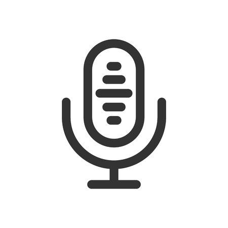 Microphone icon. Podcast radio icon illustration set. Studio table microphone with broadcast text . Webcast audio record concept logo.