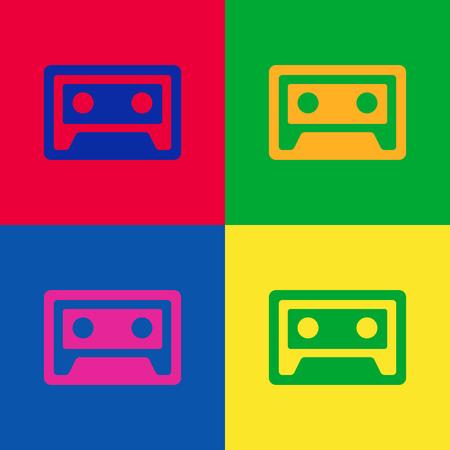 Old cassette web icon. Pop up poster for disco 80-ties. Vintage poster. Flat design vector illustration.