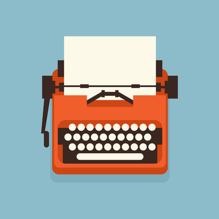 The old styled vintage typewriter. Flat design vector illustration. It is possible to add any text on to the paper. Illustration for international authors day. Ilustración de vector