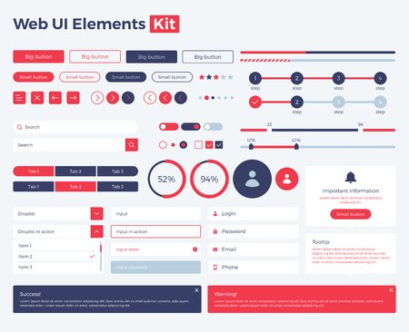 Big, huge, enhanced ui kit for web design, mobile apps with the different buttons, graphics, diagramms, menu, search, tabs and other. Banque d'images - 125576442