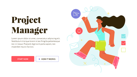Modern flat vector illustration concept of woman making project management easy.. Woman characteris running and making a lot of deals. Creative landing page design template. Иллюстрация
