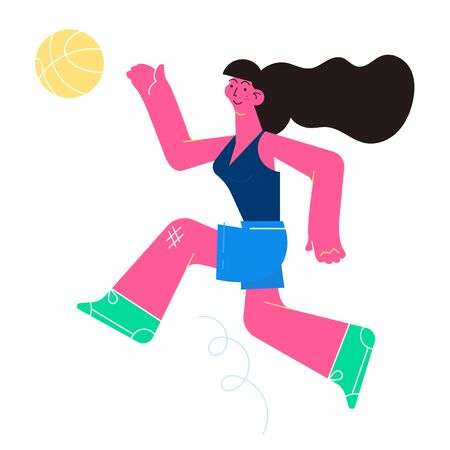 Flat design vector illustartion with the running young girl with the basketball. Banque d'images - 125576460