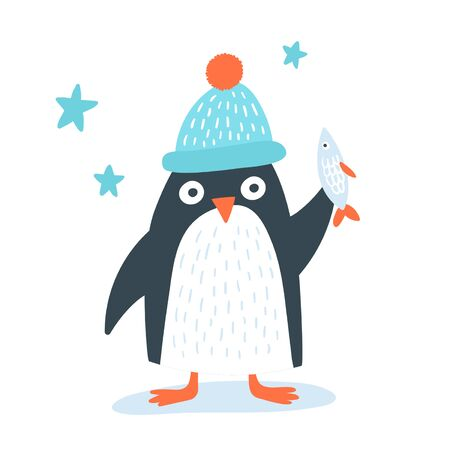 Cute pinguin in a funny hat with the fish. Cool child concept, gret mock up for  mugs and wall kids posters. Иллюстрация