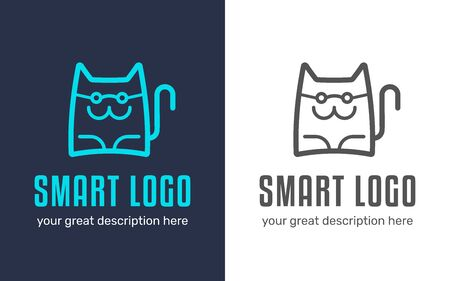 Smart cat logo design illustration. Good for veterinary clinic, pets hotel and salon. Фото со стока - 125576462
