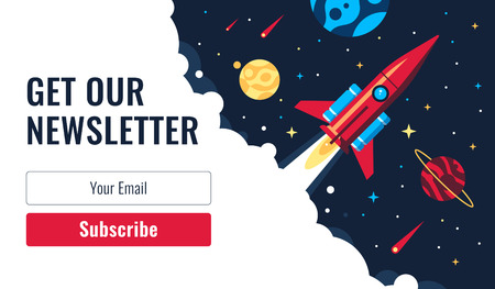 Subscribe Now For Our Newsletter (Flat Style Vector Illustration UI UX Design) with Text Box and Subscribe Button Template Banque d'images - 124431748