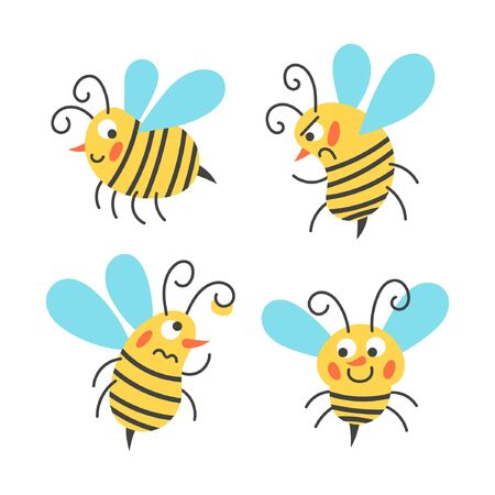 Cute children design, bee illustration for kids.  Design for The Raw Honey Shop with the bee in the sote. flat design. vector illustration. Banque d'images - 128694344