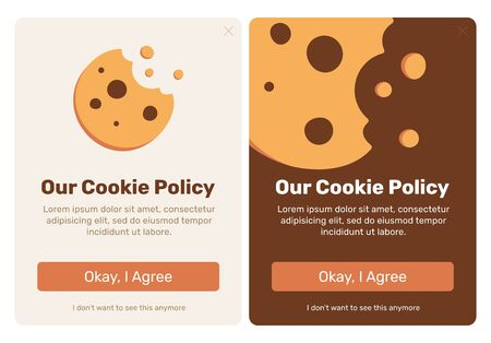 The cookie pop up set for web design. Flat vector design illustration. Useful for web design pop ups and other elements. Фото со стока - 128694343