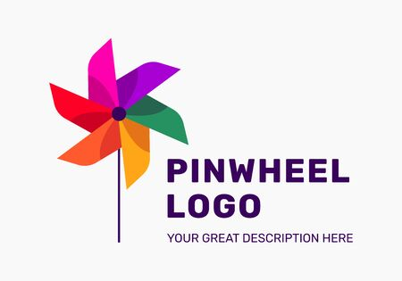 The pinwheel logo flat design vector illustrations. TBright coolored logo. Summer style. Фото со стока - 128694348